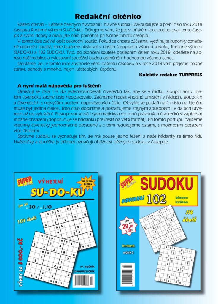 Rodinné výherní SUDOKU Turpress Super luštění