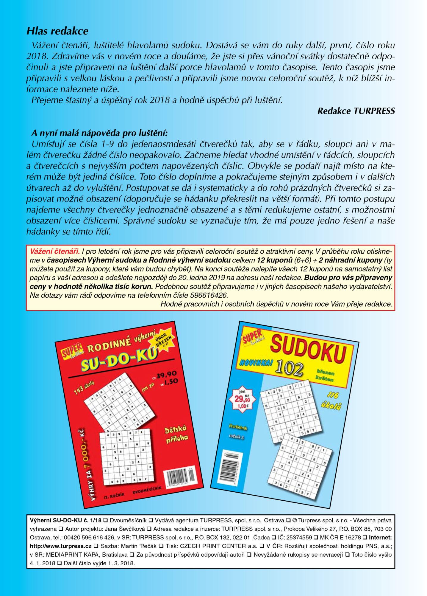 Výherní SUDOKU Turpress Super luštění