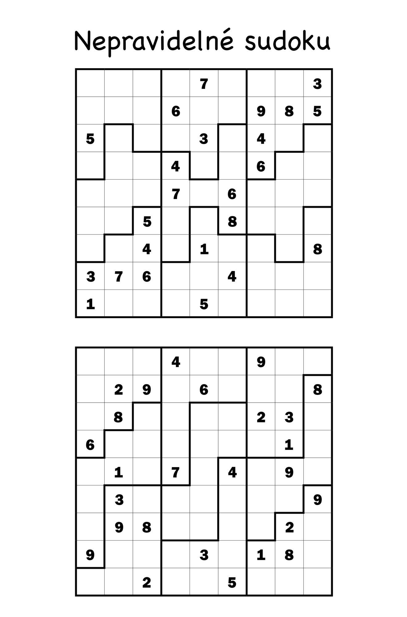Nepravidelné sudoku Turpress