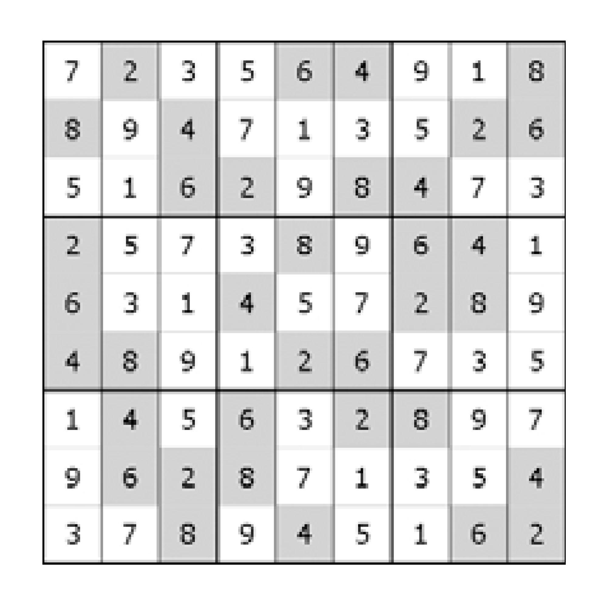 Ukázka vyluštěného útvaru - Sudá alichá sudoku Turpress